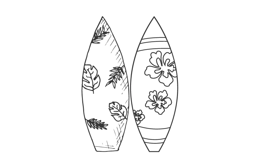 Illustrated surfboards