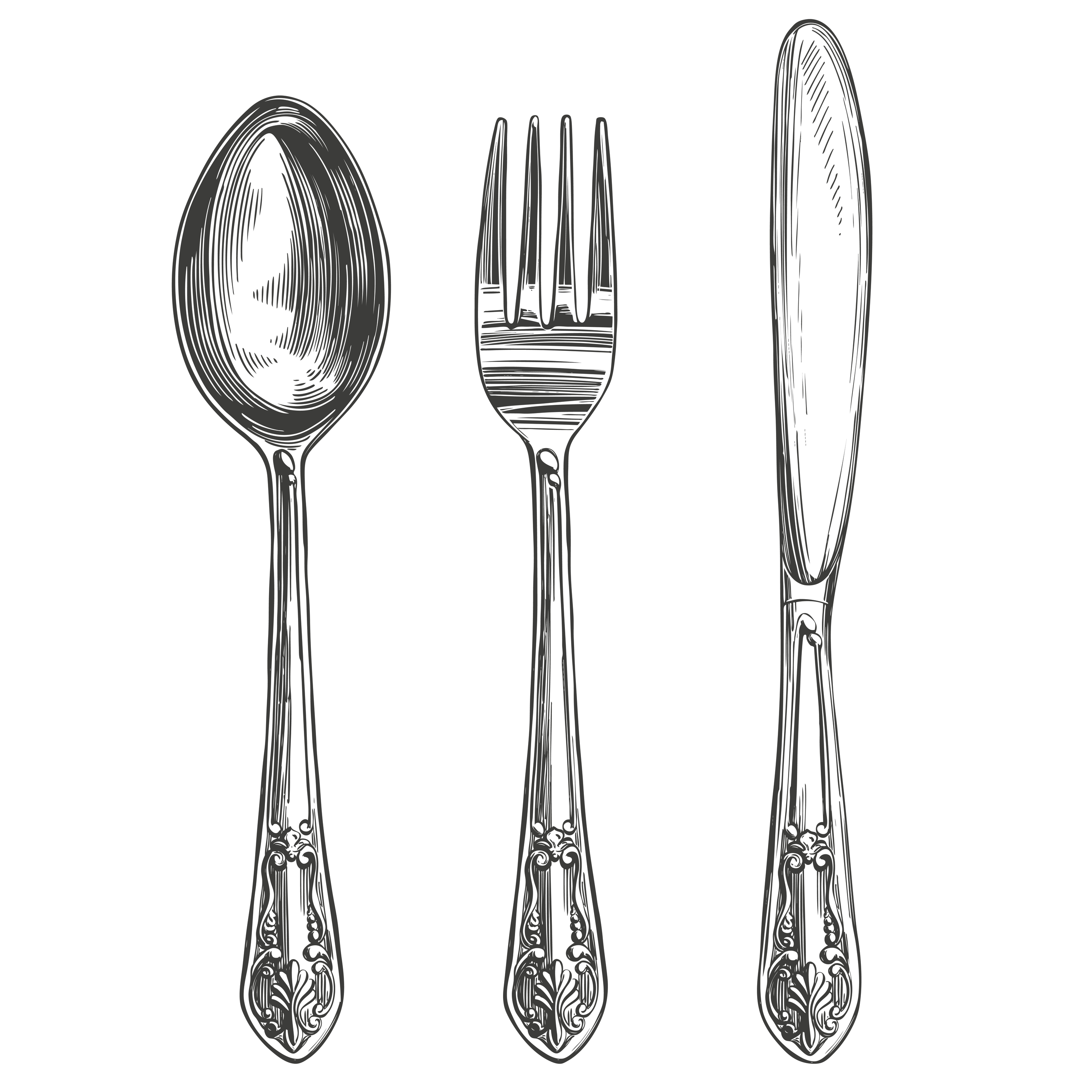 Illustrate knife, fork and spoon