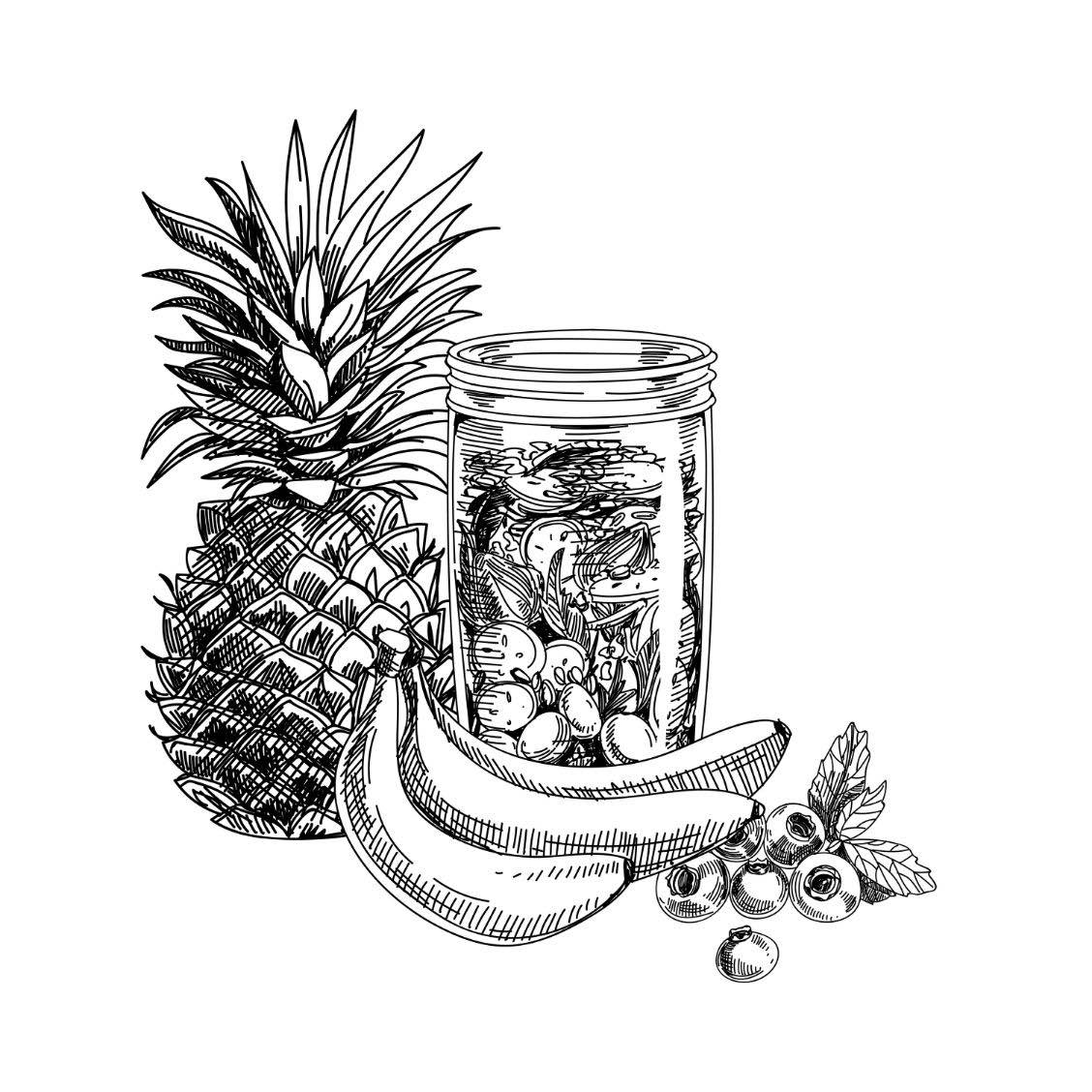 Jar with ingredients and bananas illustration
